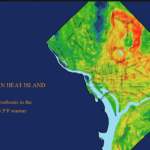 "A map of urban heat island effect in the District of Columbia. The maximum temperature presented is 101.9 degrees Fahrenheit and the low is 86.4. Text on graphic: ""Certain neighborhoods in the District are 16.5 degrees warmer than others."""