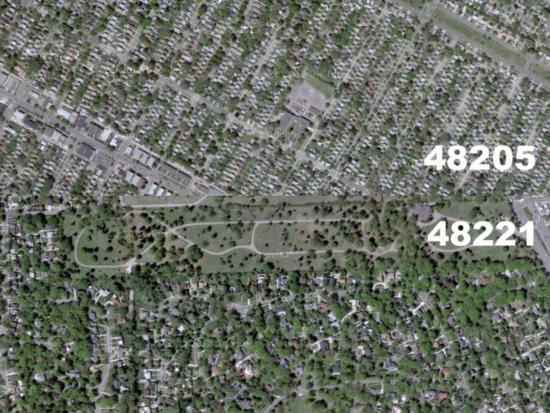 Aerial view of neighborhoods in Detroit